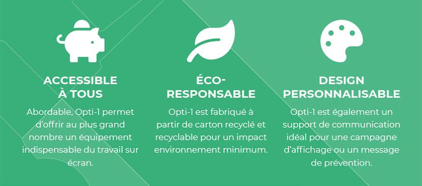 Accessible à tous / Eco-responsable / Design personnalisable